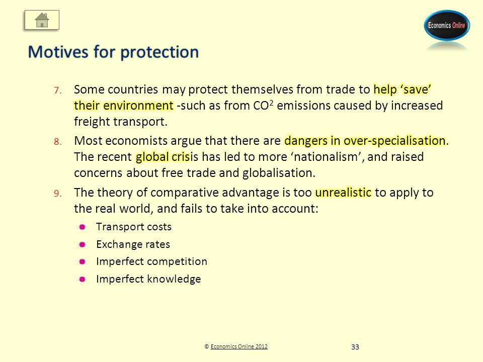 © Economics Online 2012Economics Online 2012 Motives for protection 33