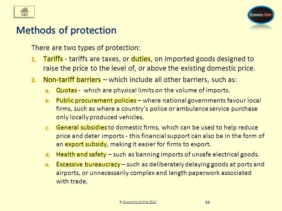 © Economics Online 2012Economics Online 2012 Methods of protection 34