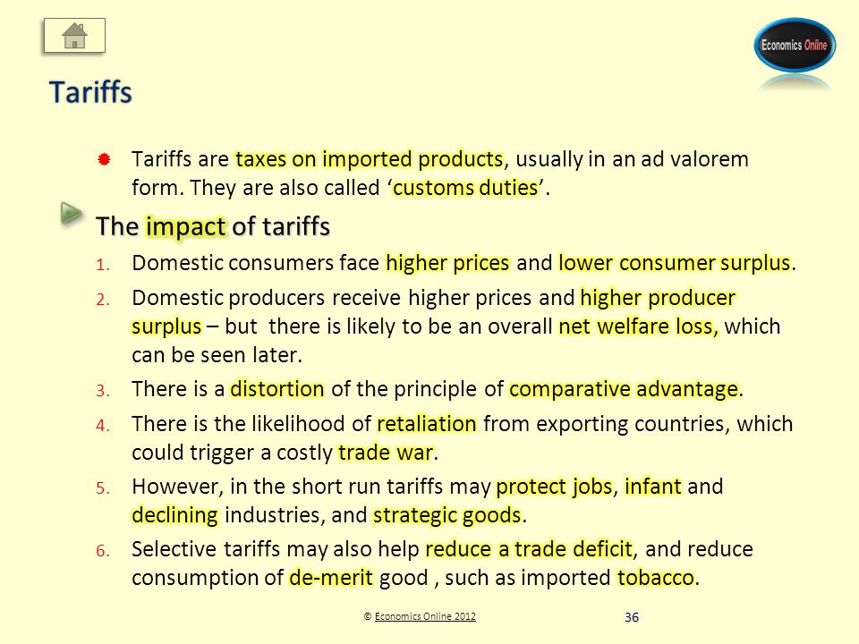 © Economics Online 2012Economics Online 2012Tariffs 36