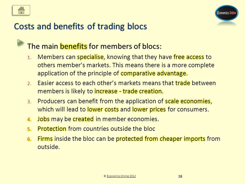 © Economics Online 2012Economics Online 2012 Costs and benefits of trading blocs 38