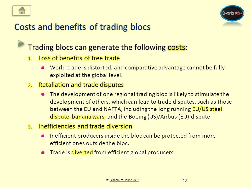 © Economics Online 2012Economics Online 2012 Costs and benefits of trading blocs 40