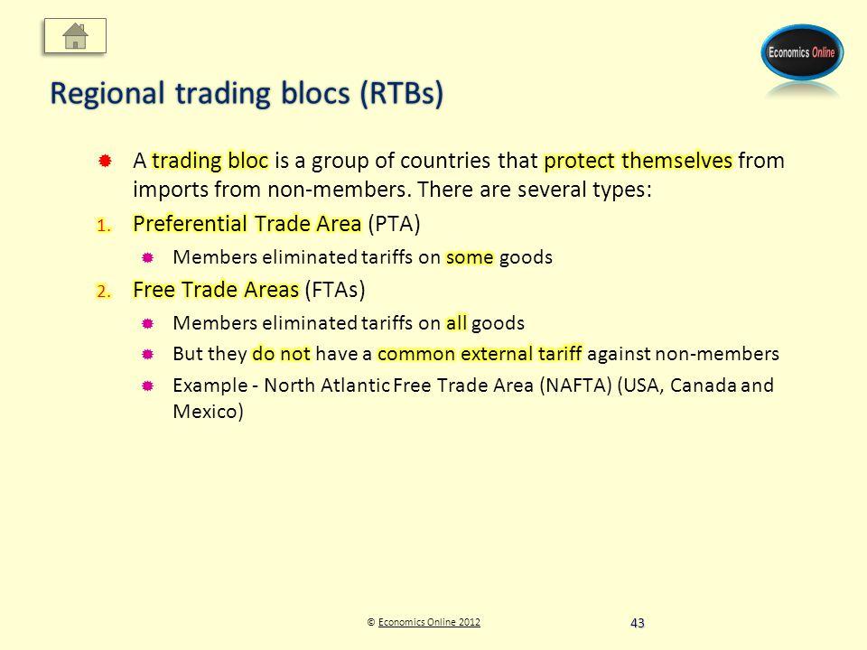 © Economics Online 2012Economics Online 2012 Regional trading blocs (RTBs) 43