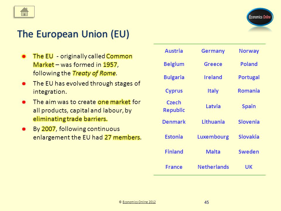 © Economics Online 2012Economics Online 2012 The European Union (EU) AustriaGermanyNorway BelgiumGreecePoland BulgariaIrelandPortugal CyprusItalyRomania Czech Republic LatviaSpain DenmarkLithuaniaSlovenia EstoniaLuxembourgSlovakia FinlandMaltaSweden FranceNetherlandsUK 45