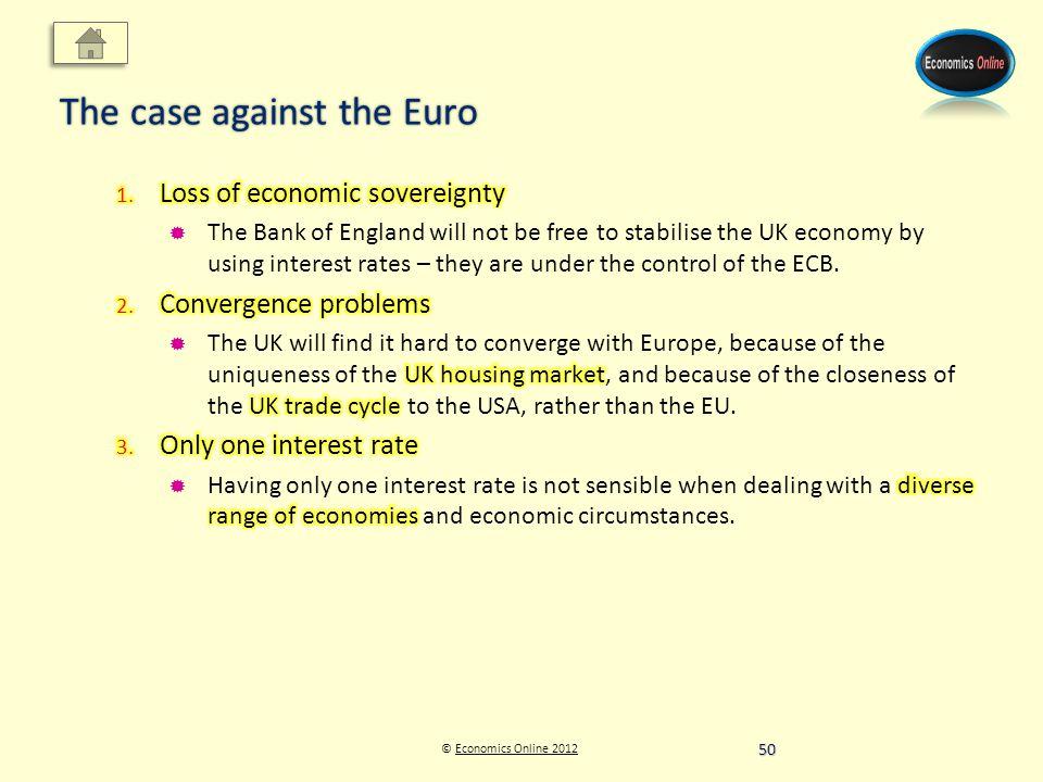 © Economics Online 2012Economics Online 2012 The case against the Euro 50