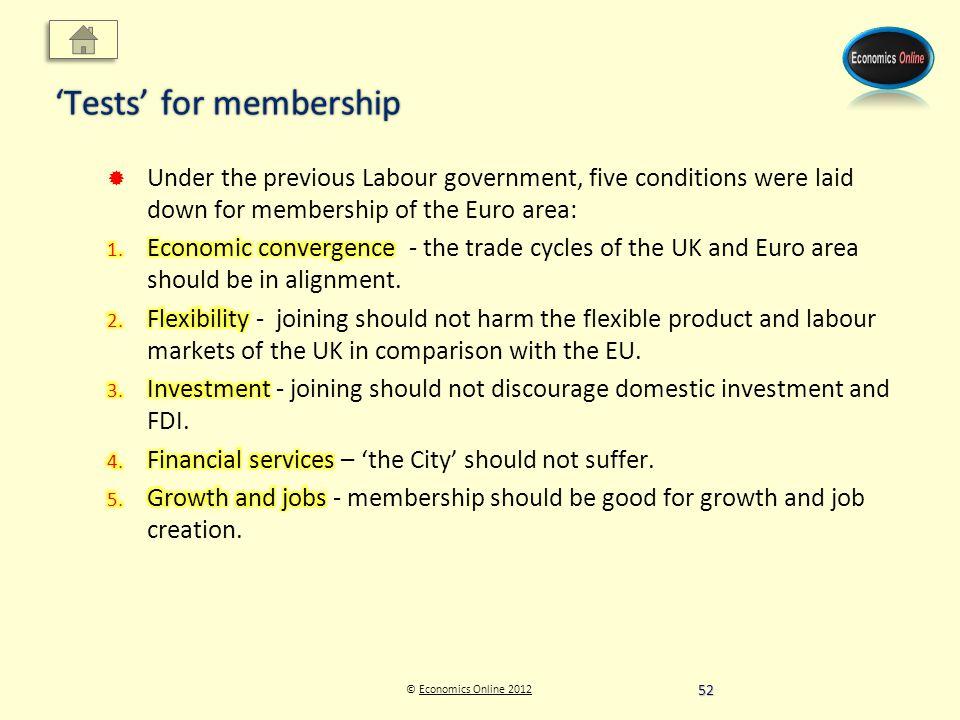 © Economics Online 2012Economics Online 2012 Tests for membership 52