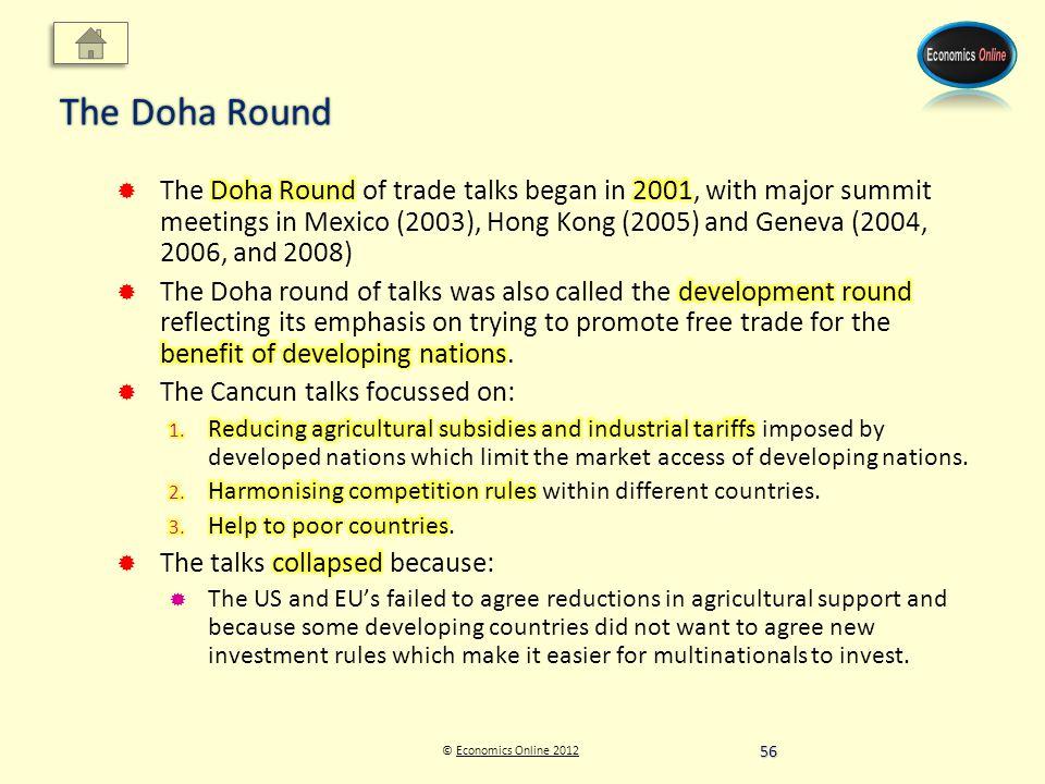 © Economics Online 2012Economics Online 2012 The Doha Round 56