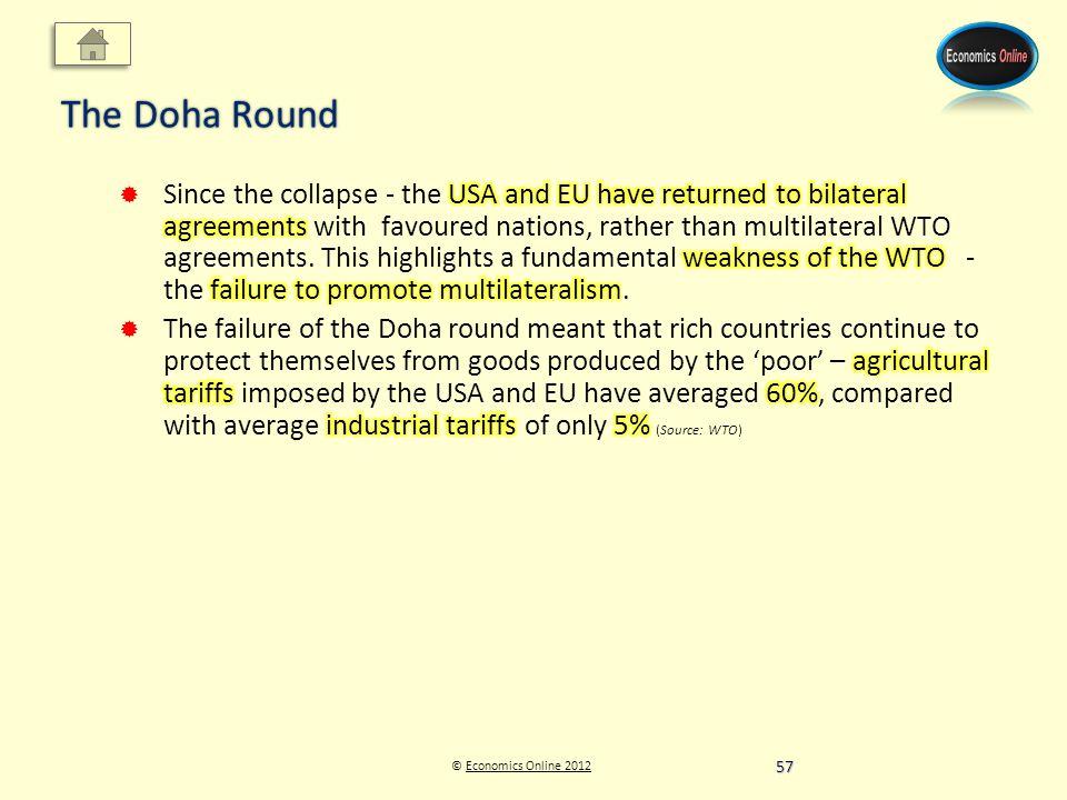 © Economics Online 2012Economics Online 2012 The Doha Round 57