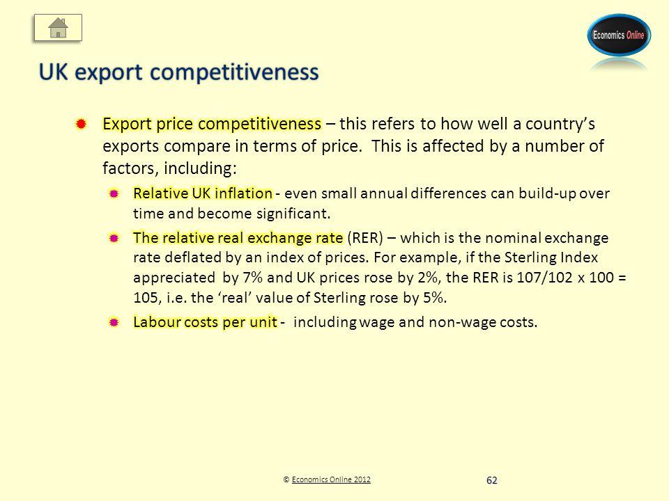 © Economics Online 2012Economics Online 2012 UK export competitiveness 62