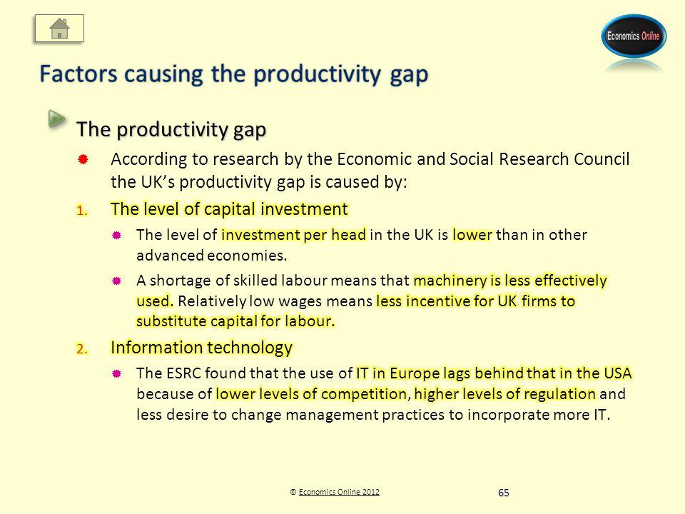 © Economics Online 2012Economics Online 2012 Factors causing the productivity gap 65
