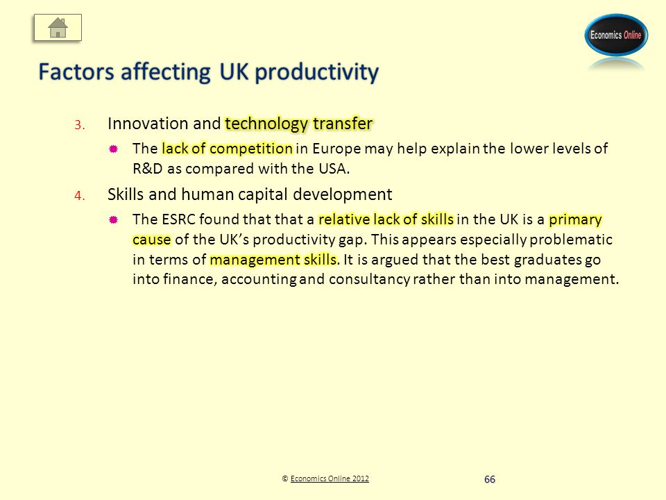 © Economics Online 2012Economics Online 2012 Factors affecting UK productivity 66