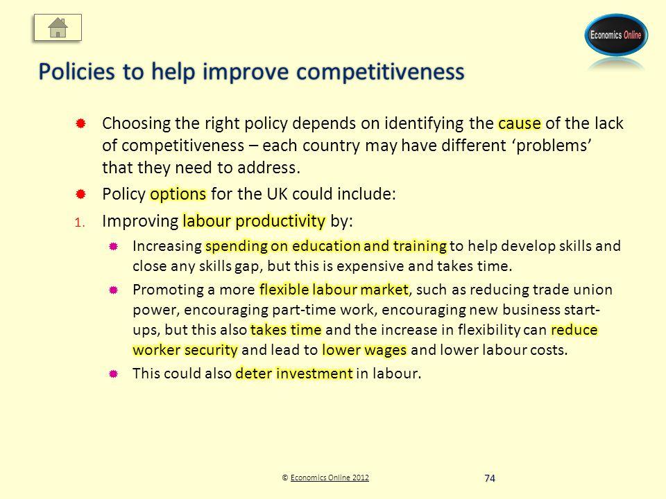 © Economics Online 2012Economics Online 2012 Policies to help improve competitiveness 74