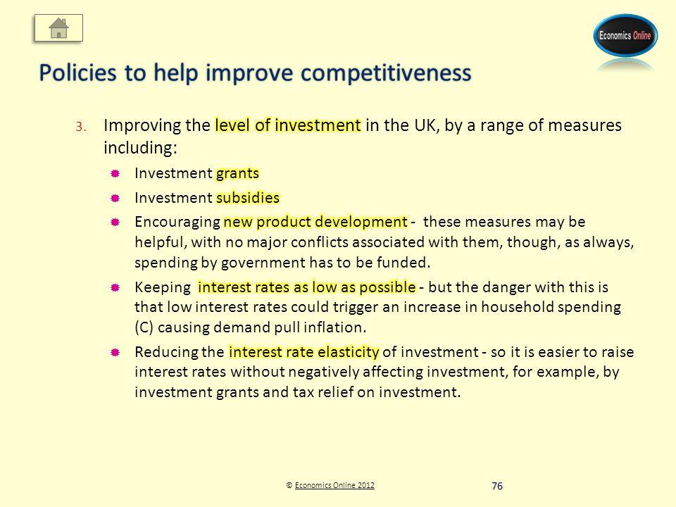 © Economics Online 2012Economics Online 2012 Policies to help improve competitiveness 76