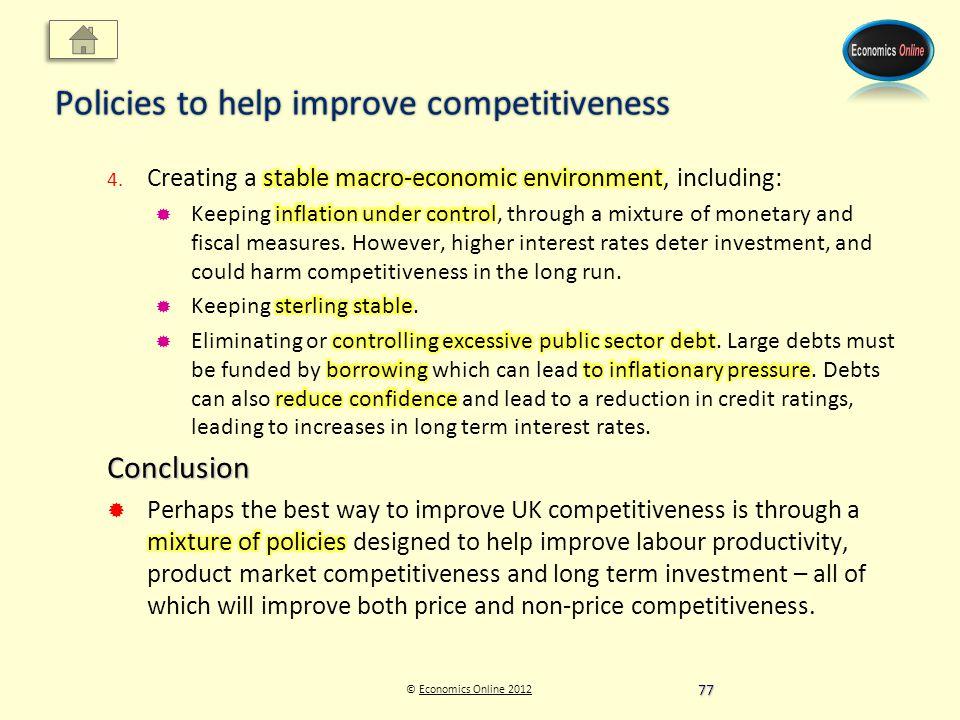 © Economics Online 2012Economics Online 2012 Policies to help improve competitiveness 77