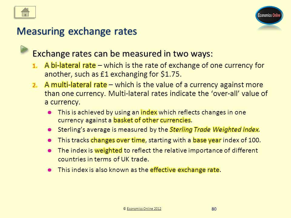© Economics Online 2012Economics Online 2012 Measuring exchange rates 80