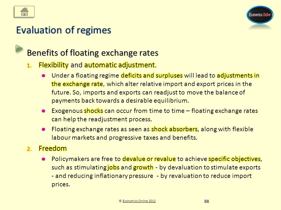 © Economics Online 2012Economics Online 2012 Evaluation of regimes 88