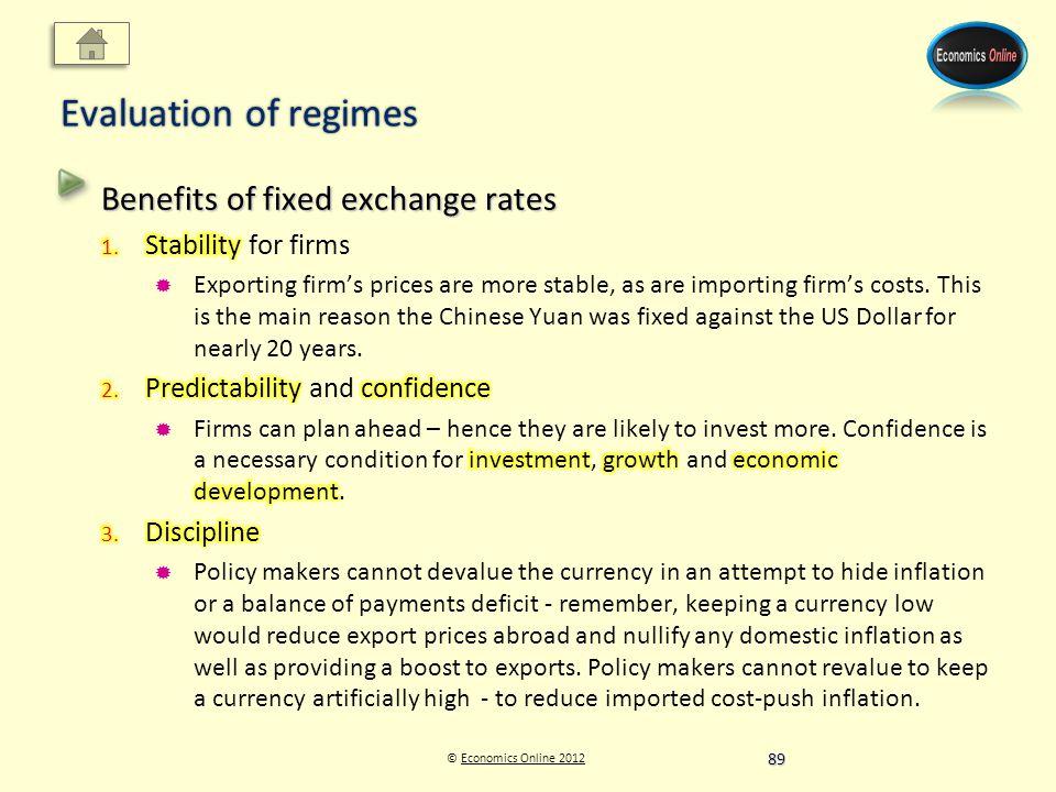 © Economics Online 2012Economics Online 2012 Evaluation of regimes 89