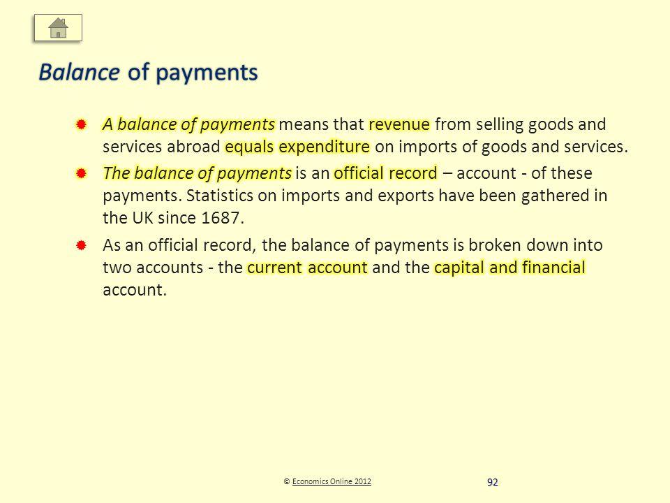 © Economics Online 2012Economics Online 2012 Balance of payments 92