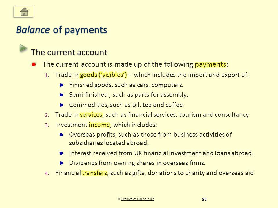 © Economics Online 2012Economics Online 2012 Balance of payments 93