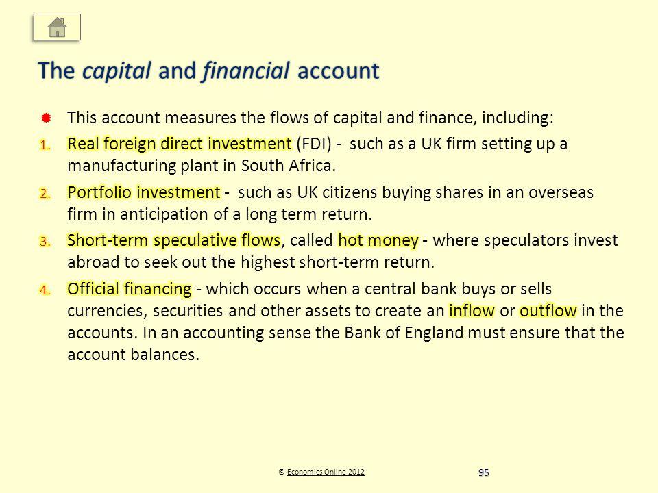 © Economics Online 2012Economics Online 2012 The capital and financial account 95