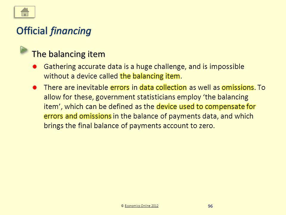 © Economics Online 2012Economics Online 2012 Official financing 96