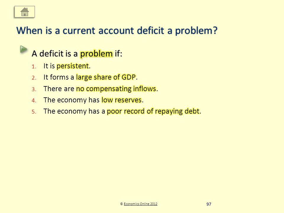 © Economics Online 2012Economics Online 2012 When is a current account deficit a problem 97