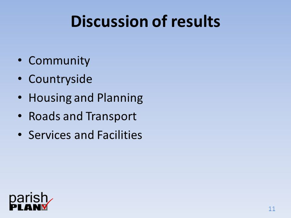 11 Discussion of results Community Countryside Housing and Planning Roads and Transport Services and Facilities