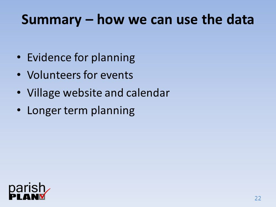 22 Summary – how we can use the data Evidence for planning Volunteers for events Village website and calendar Longer term planning