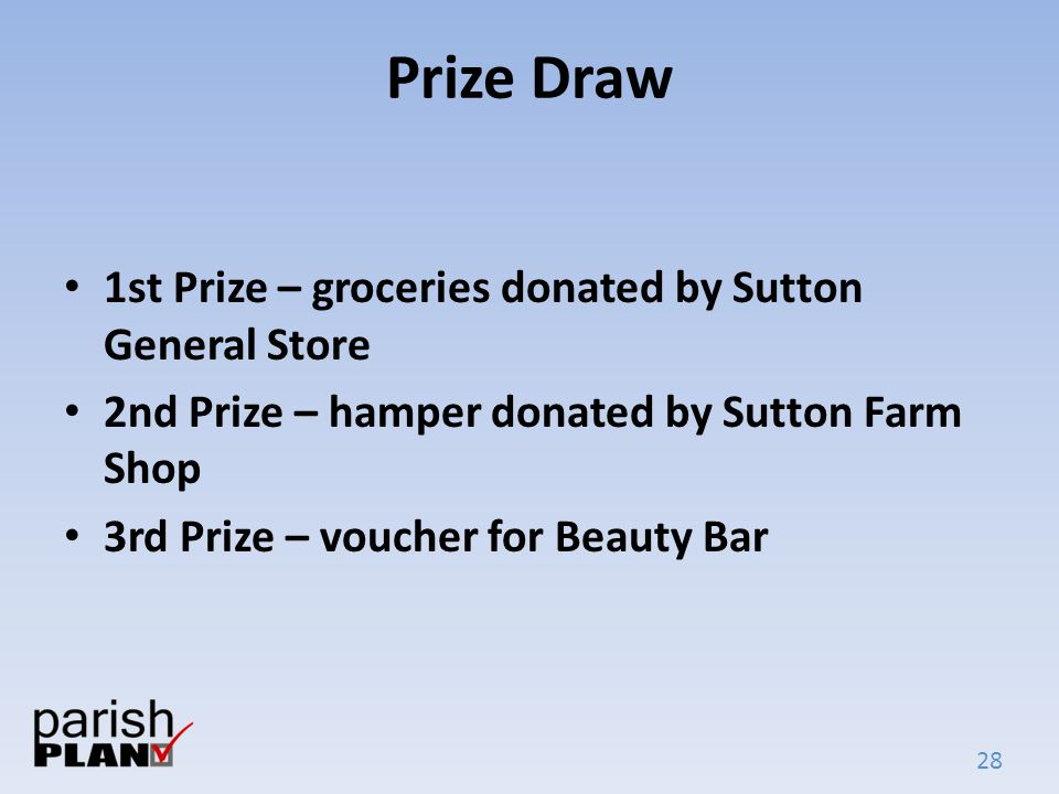 28 Prize Draw 1st Prize – groceries donated by Sutton General Store 2nd Prize – hamper donated by Sutton Farm Shop 3rd Prize – voucher for Beauty Bar