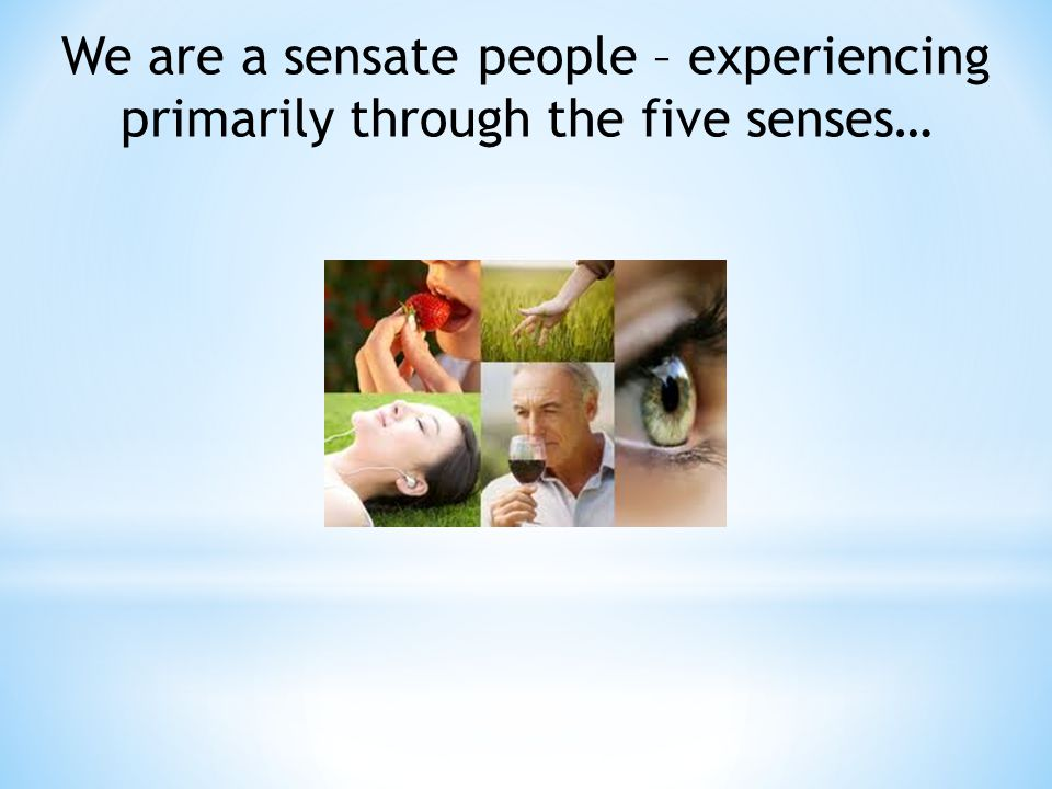 We are a sensate people – experiencing primarily through the five senses…