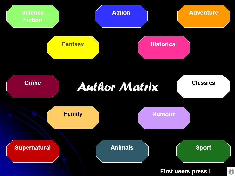 Humour Action Sport Historical Supernatural Fantasy Science Fiction Adventure Animals Family CrimeClassics First users press I Author Matrix