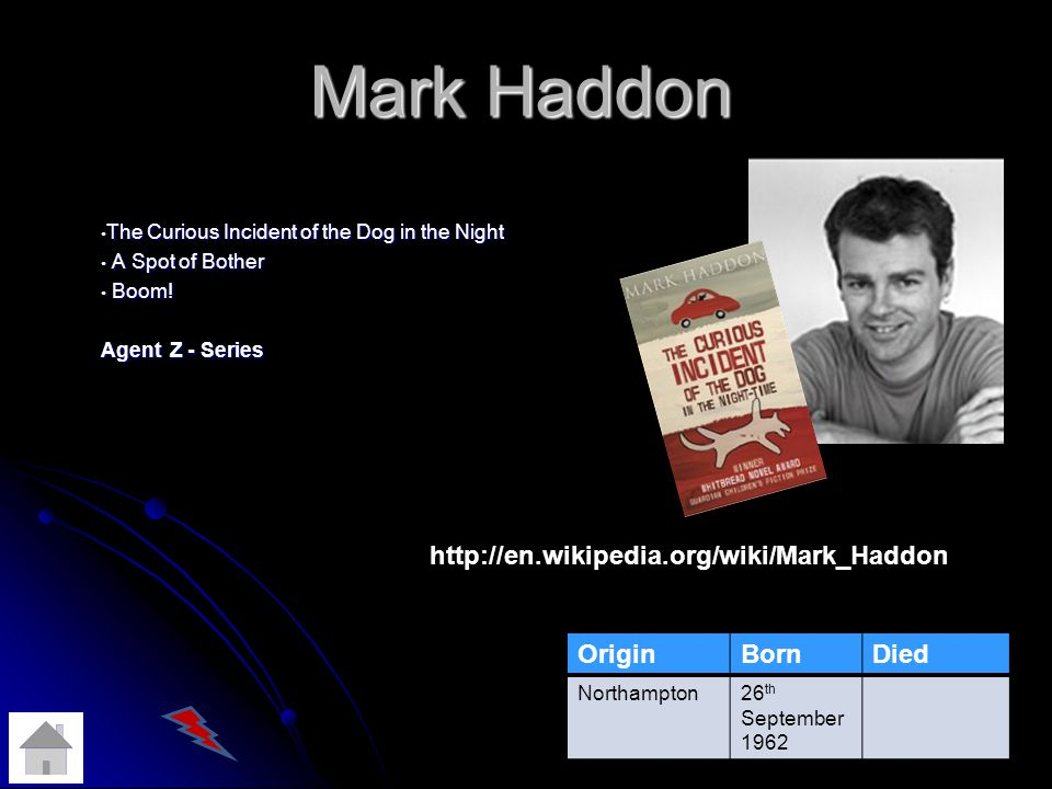 Mark Haddon The Curious Incident of the Dog in the Night The Curious Incident of the Dog in the Night A Spot of Bother A Spot of Bother Boom.