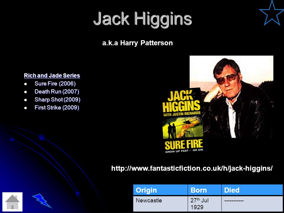 Jack Higgins Rich and Jade Series Sure Fire (2006) Sure Fire (2006) Death Run (2007) Death Run (2007) Sharp Shot (2009) Sharp Shot (2009) First Strike (2009) First Strike (2009) OriginBornDied Newcastle27 th Jul 1929 ----------- http://www.fantasticfiction.co.uk/h/jack-higgins/ a.k.a Harry Patterson