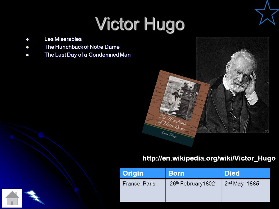 Victor Hugo Les Miserables Les Miserables The Hunchback of Notre Dame The Hunchback of Notre Dame The Last Day of a Condemned Man The Last Day of a Condemned Man OriginBornDied France, Paris 26 th February18022 nd May 1885 http://en.wikipedia.org/wiki/Victor_Hugo