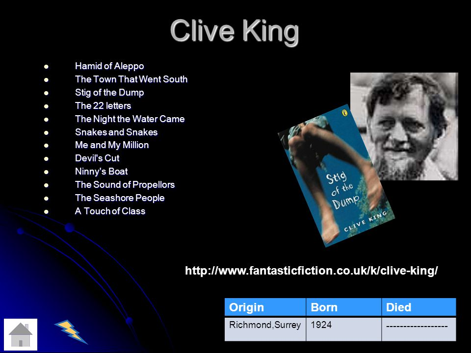 Clive King Hamid of Aleppo Hamid of Aleppo The Town That Went South The Town That Went South Stig of the Dump Stig of the Dump The 22 letters The 22 letters The Night the Water Came The Night the Water Came Snakes and Snakes Snakes and Snakes Me and My Million Me and My Million Devil s Cut Devil s Cut Ninny s Boat Ninny s Boat The Sound of Propellors The Sound of Propellors The Seashore People The Seashore People A Touch of Class A Touch of Class OriginBornDied Richmond,Surrey1924 ------------------ http://www.fantasticfiction.co.uk/k/clive-king/