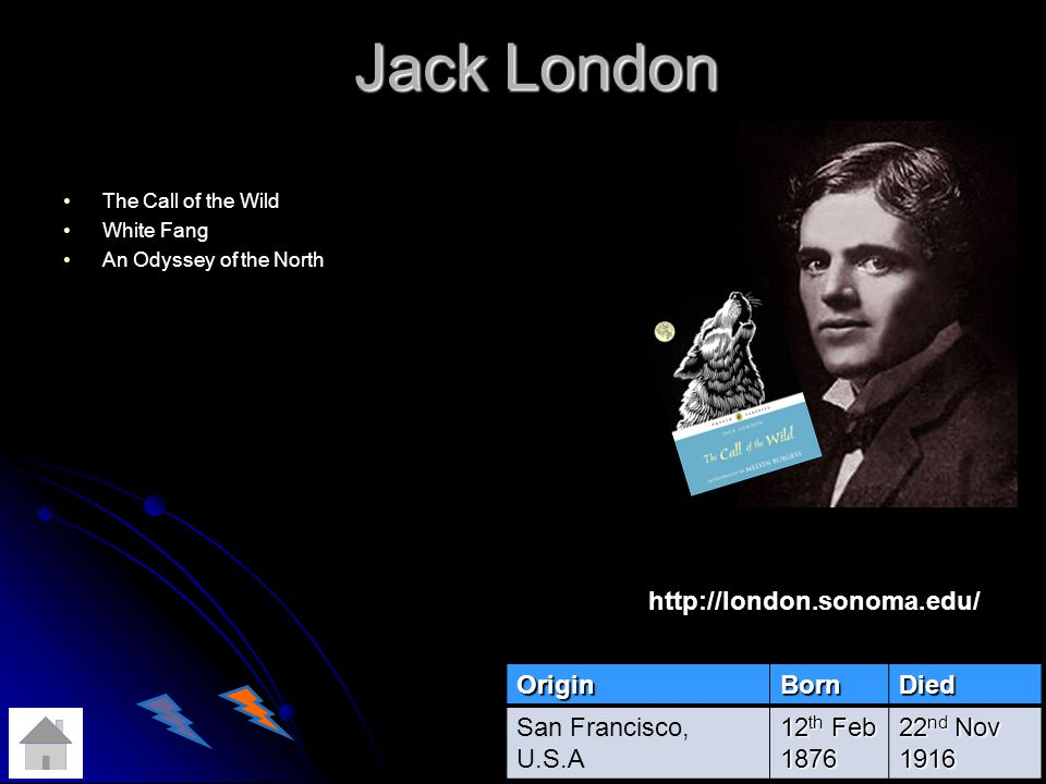 Jack London The Call of the Wild White Fang An Odyssey of the NorthOriginBornDied San Francisco, U.S.A 12 th Feb 1876 22 nd Nov 1916 http://london.sonoma.edu/