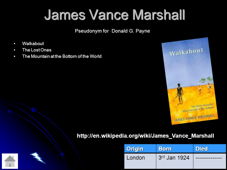 James Vance Marshall Walkabout The Lost Ones The Mountain at the Bottom of the World OriginBornDied London3 rd Jan 1924-------------- Pseudonym for Donald G.