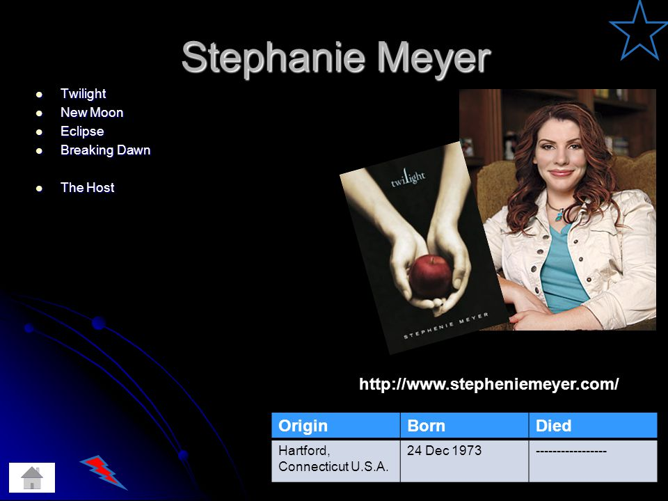 Stephanie Meyer Twilight Twilight New Moon New Moon Eclipse Eclipse Breaking Dawn Breaking Dawn The Host The Host OriginBornDied Hartford, Connecticut U.S.A.