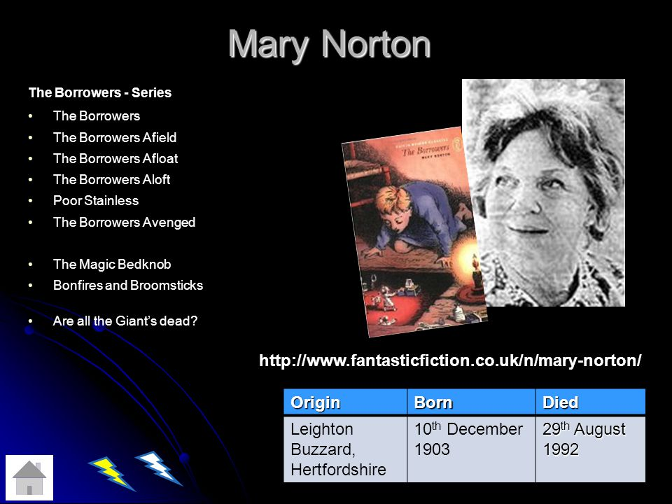 Mary Norton Mary Norton The Borrowers - Series The Borrowers The Borrowers Afield The Borrowers Afloat The Borrowers Aloft Poor Stainless The Borrowers Avenged The Magic Bedknob Bonfires and Broomsticks Are all the Giants dead.