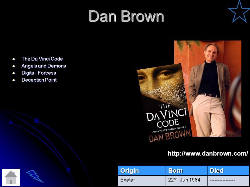 Dan Brown The Da Vinci Code The Da Vinci Code Angels and Demons Angels and Demons Digital Fortress Digital Fortress Deception Point Deception PointOriginBornDiedExeter 22 nd Jun 1964 ---------------- http://www.danbrown.com/