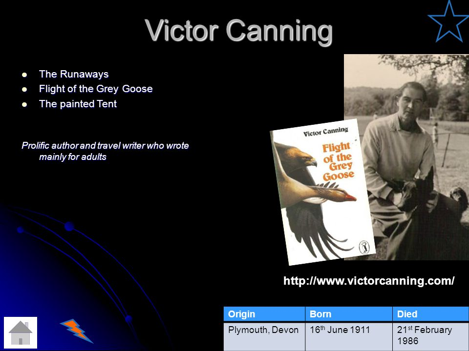 Victor Canning Victor Canning The Runaways The Runaways Flight of the Grey Goose Flight of the Grey Goose The painted Tent The painted Tent Prolific author and travel writer who wrote mainly for adults http://www.victorcanning.com/ OriginBornDied Plymouth, Devon16 th June 191121 st February 1986