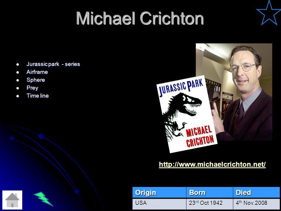 Michael Crichton Jurassic park - series Jurassic park - series Airframe Airframe Sphere Sphere Prey Prey Time line Time lineOriginBornDiedUSA 23 rd Oct 1942 4 th Nov.2008 http://www.michaelcrichton.net/