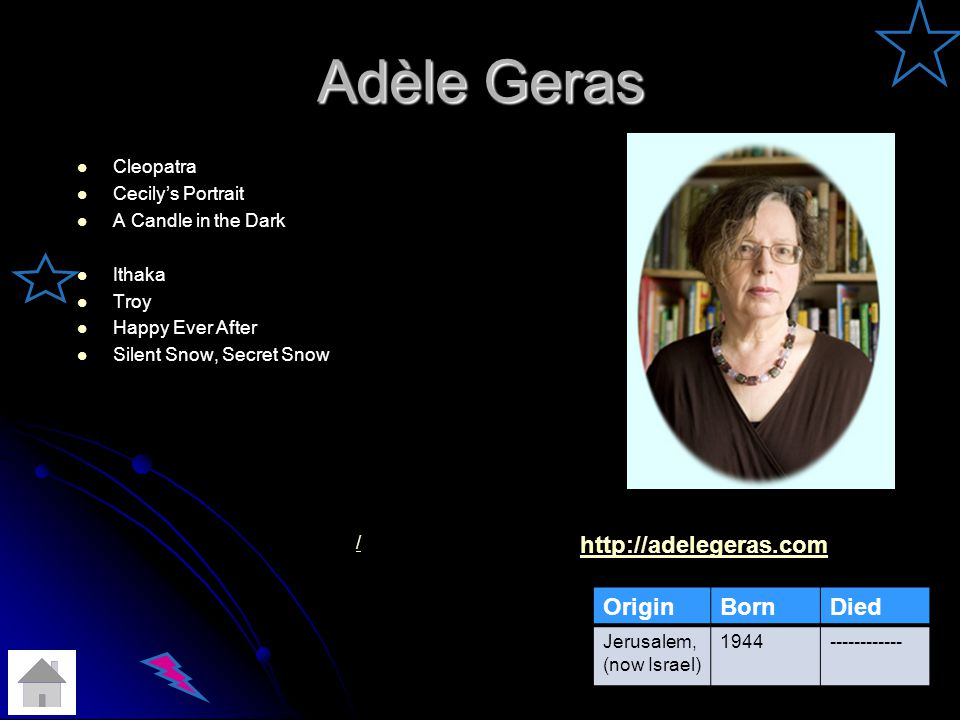 Adèle Geras Cleopatra Cecilys Portrait A Candle in the Dark Ithaka Troy Happy Ever After Silent Snow, Secret Snow / OriginBornDied Jerusalem, (now Israel) 1944------------ http://adelegeras.com