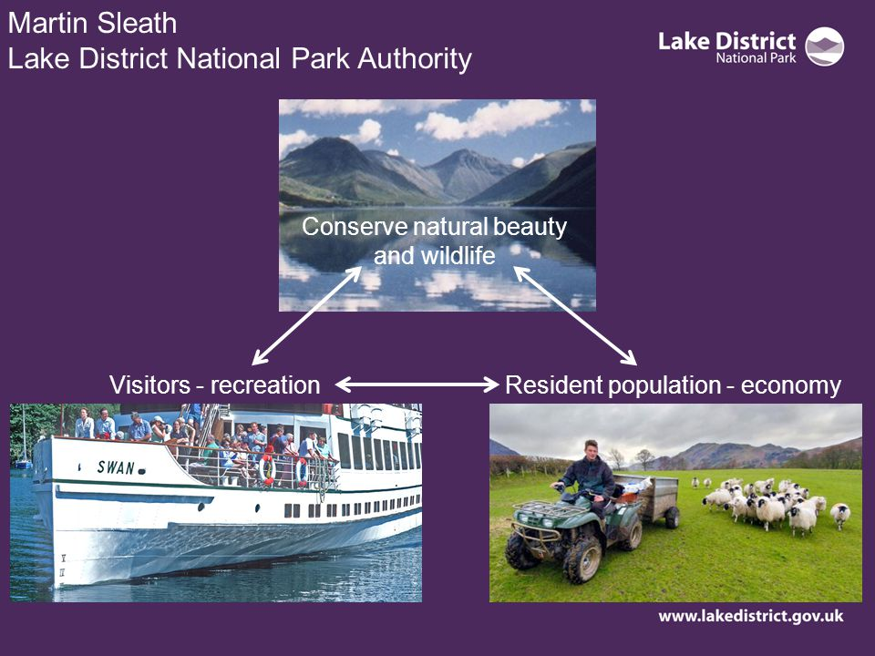 Martin Sleath Lake District National Park Authority Conserve natural beauty and wildlife Visitors - recreationResident population - economy