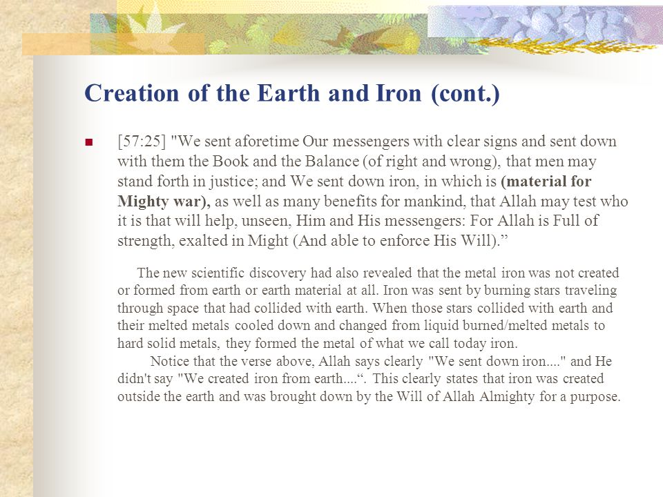 Creation of the Earth and Iron (cont.) [57:25]
