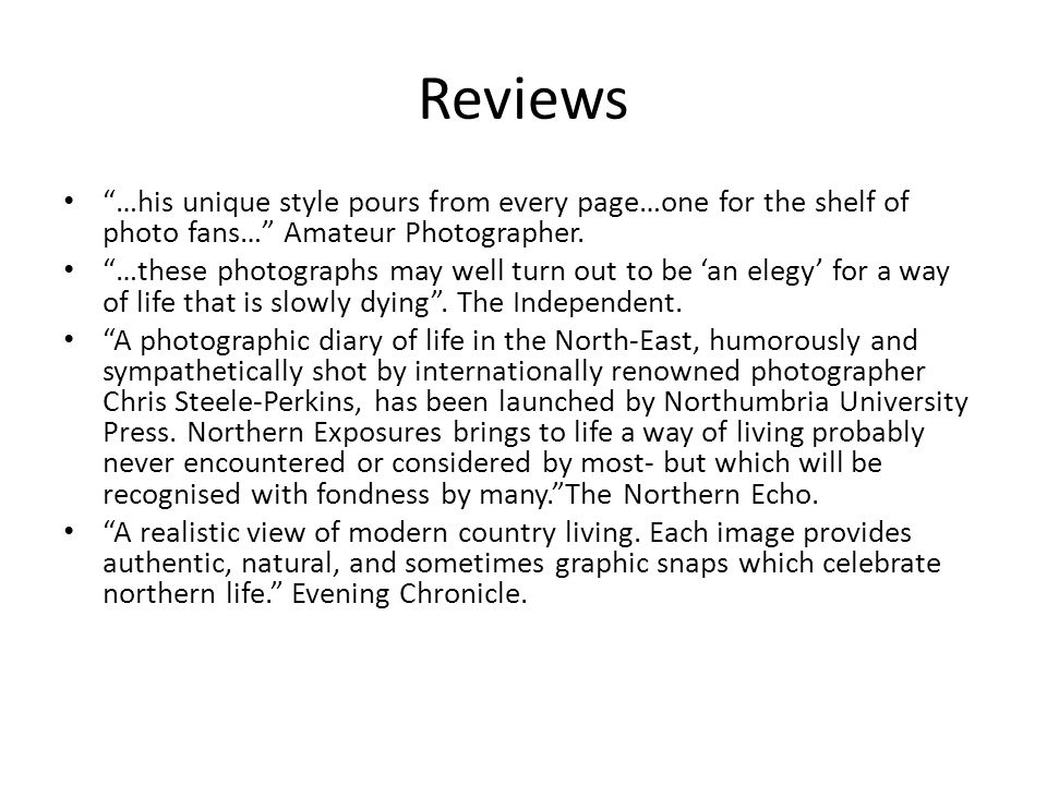 Reviews …his unique style pours from every page…one for the shelf of photo fans… Amateur Photographer.
