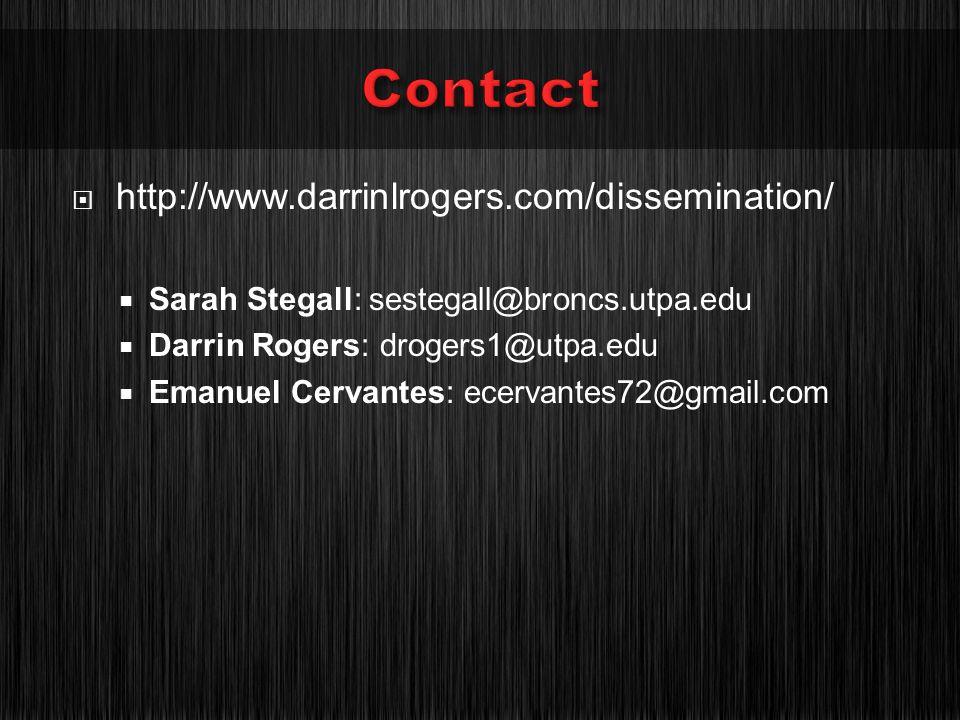 http://www.darrinlrogers.com/dissemination/ Sarah Stegall: sestegall@broncs.utpa.edu Darrin Rogers: drogers1@utpa.edu Emanuel Cervantes: ecervantes72@gmail.com
