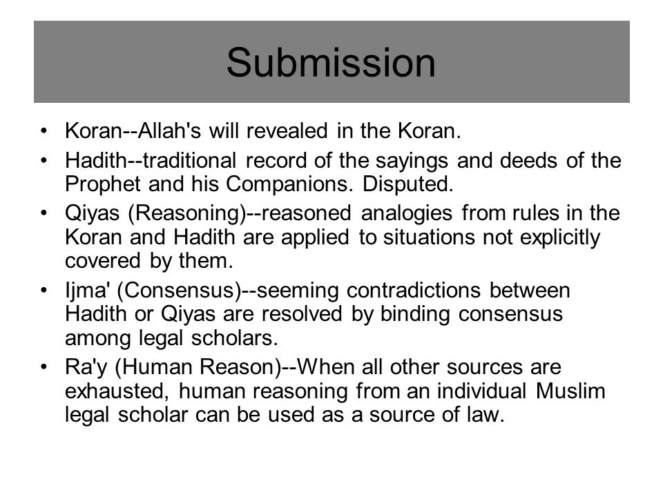 Koran--Allah s will revealed in the Koran.