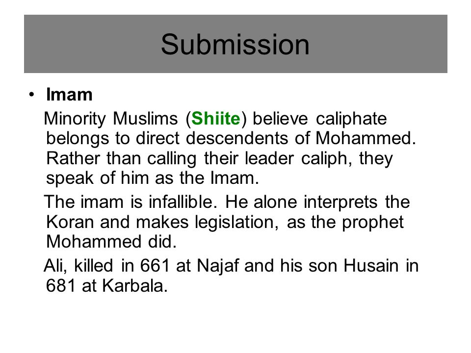 Imam Minority Muslims (Shiite) believe caliphate belongs to direct descendents of Mohammed.