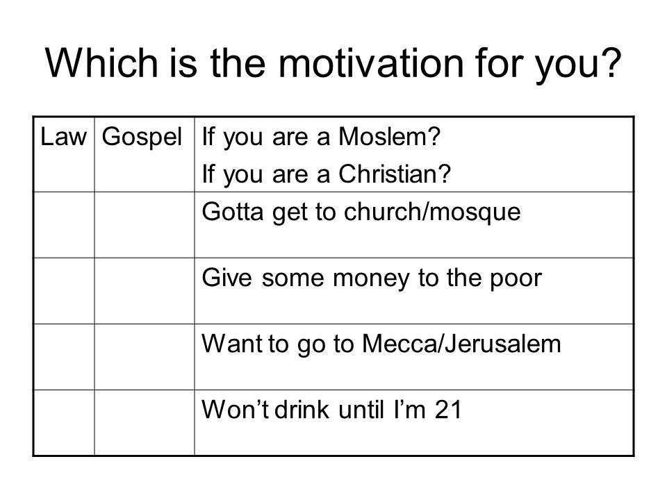 Which is the motivation for you.LawGospelIf you are a Moslem.