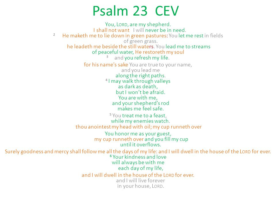 Psalm 23 CEV You, L ORD, are my shepherd. I shall not want I will never be in need. 2 He maketh me to lie down in green pastures: You let me rest in f